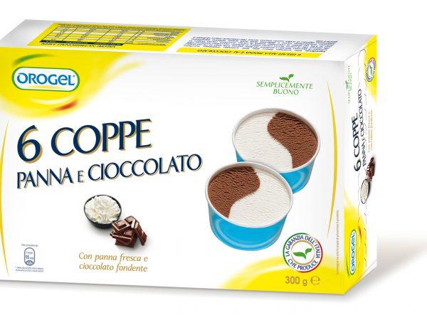 COPPA GELATO PANNA E CIOCCOLATO 6 PZ GR.300 CONG OROGEL